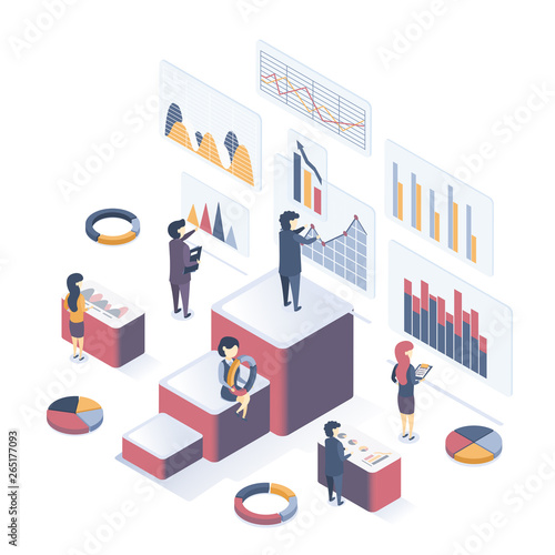 Canvas Prints Textures Isometric vector illustration. Сoncept of Data Analysis. People collect data, analyze graphs, analyze statistics.