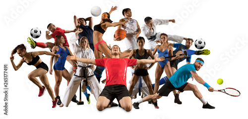 Multi sports collage taekwondo, tennis, soccer, basketball, etc - 265177491
