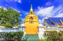 Golden Pagoda In Phayao Prpvin...