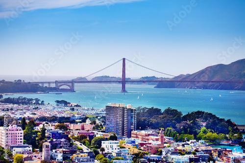 San Francisco bay and Golden Gate Bridge, USA Wallpaper Mural