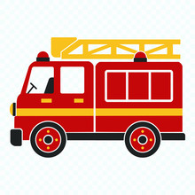 Fire Truck, Cartoon Vector Illustration For Kids