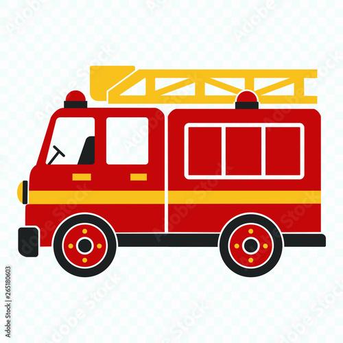 Fototapeta Fire Truck, cartoon vector illustration for kids