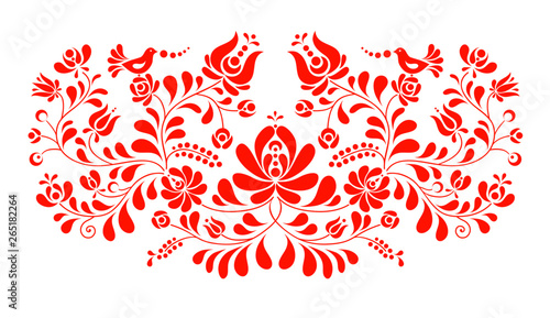 Fotografía Vector hungarian folk decoration with flowers and birds on white.