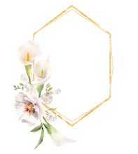 Golden Frame Decorated With Handpainted Watercolor Flowers