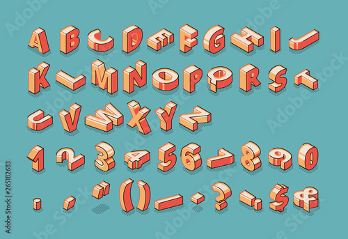 Isometric alphabet, numbers and punctuation marks standing and lying in raw on blue retro colored background Tapéta, Fotótapéta