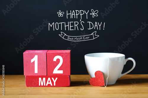 Printed kitchen splashbacks Amsterdam Happy Mothers Day 12 May message with coffee cup with wooden blocks