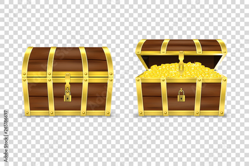Obraz na plátně Vector 3d Realistic Closed and Opened Retro Vintage Antique Old Treasure Wooden Pirate Dower Chest with Glow Gold Coins and Padlock Closeup Isolated on Transparent Background