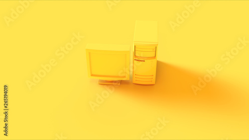 Fotografía  Yellow Old Desktop Computer and Monitor 3d illustration 3d render