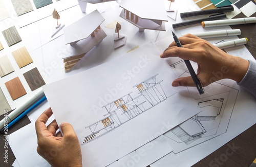 architect design working drawing sketch plans blueprints and making architectura Canvas Print