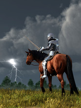 A Knight On Horseback In Shining Armor Looks Down At The Sword In His Hand As Lightning Strikes Off In The Distance.  His Horse Looks Back, Worried.  3D Rendering