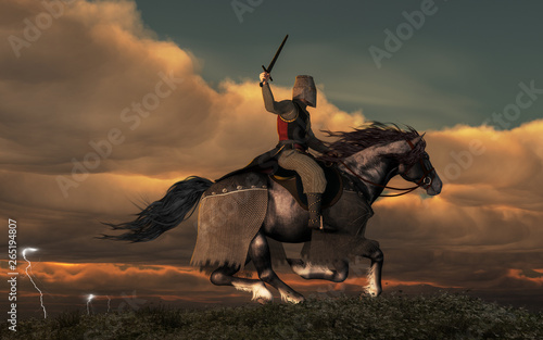 Valokuva A knight on horseback charges across a field as storm in the background forks lightning and booms thunder