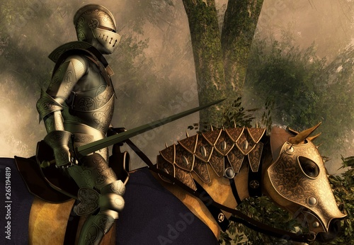 Fényképezés Sword in hand, a knight in shining armor rides on his armored horse through a foggy medieval forest