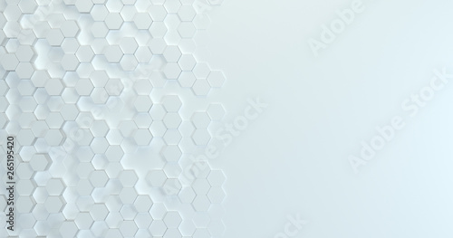 Fototapety, obrazy: Abstract technological hexagonal background. 3d rendering. Geometric pattern. Graphic design elementfor wallpaper. Modern business card template