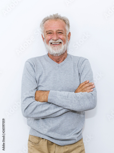Portrait of healthy happy smile senior elderly caucasian old arm crossed with copy space isolated on white Wallpaper Mural