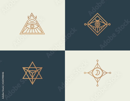 Set abstract linear isoteric logos golden mystical symbols Wall mural