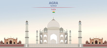 Vector Illustration Of Taj Mahal On Colorful Gradient Beautiful Daytime Background
