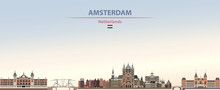 Vector Illustration Of Amsterdam City Skyline On Colorful Gradient Beautiful Daytime Background