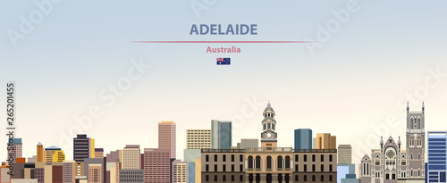Vector illustration of Adelaide city skyline on colorful gradient beautiful dayt Canvas Print