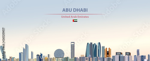 Vector illustration of Abu Dhabi city skyline on colorful gradient beautiful day Wallpaper Mural