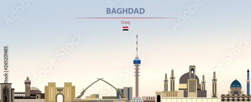 Vector illustration of Baghdad city skyline on colorful gradient beautiful dayti Tablou Canvas