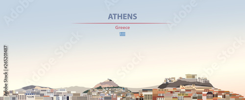 Photo Vector illustration of Athens city skyline on colorful gradient beautiful daytim