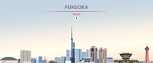Vector Illustration Of Fukuoka City Skyline On Colorful Gradient Beautiful Daytime Background