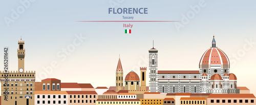 Obraz na plátně Vector illustration of Florence city skyline on colorful gradient beautiful dayt