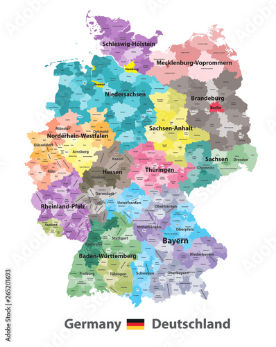 Germany high detailed vector map (colored by states and ...