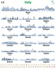 Italian Cities Skylines Isolated High Detailed Icons In Tints Of Blue Color Palette. Vector Illustration