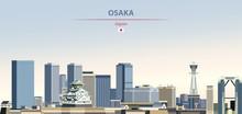 Vector Illustration Of Osaka City Skyline On Colorful Gradient Beautiful Daytime Background