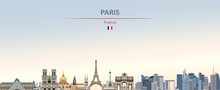 Vector Illustration Of Paris City Skyline On Colorful Gradient Beautiful Daytime Background