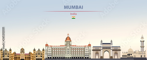 Photo Vector illustration of Mumbai city skyline on colorful gradient beautiful daytim