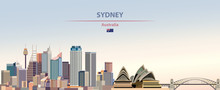 Vector Illustration Of Sydney City Skyline On Colorful Gradient Beautiful Daytime Background