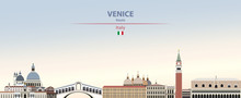 Vector Illustration Of Venice City Skyline On Colorful Gradient Beautiful Daytime Background