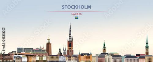 Vector illustration of Stockholm city skyline on colorful gradient beautiful day Canvas Print