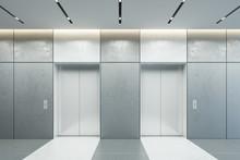 Modern Elevator With Closed Doors In Office Lobby, 3d Rendering
