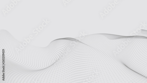 A wave of particles. Futuristic dot wave on white background. Dynamic wave. Wave 3d