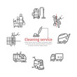 Cleaning Service banner. Worker. Vacuum Scrubber. Sweeper Machines. Vector illustration.