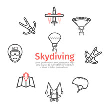 Parachuting Banner, Line Icons. Skydiving. Vector Signs For Web Graphics.