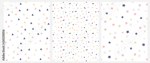 fototapeta na szkło Set of 3 Geometric Seamless Vector Pattern with Pink, Gold and Gray Dots, Triangles, Stars Isolated on a White Background. Simple Lovely Confetti Rain. Brihgt Starry Layout. Cute Doted Vector Design.