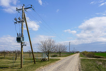 Wooden Power Line Pole With El...