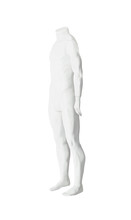 Headless Plastic Male Mannequin For Clothing Shops. Nude Dummy Isolated On White Background