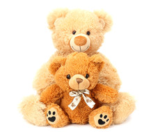 Two Toy Teddy Bears Isolated On White Background