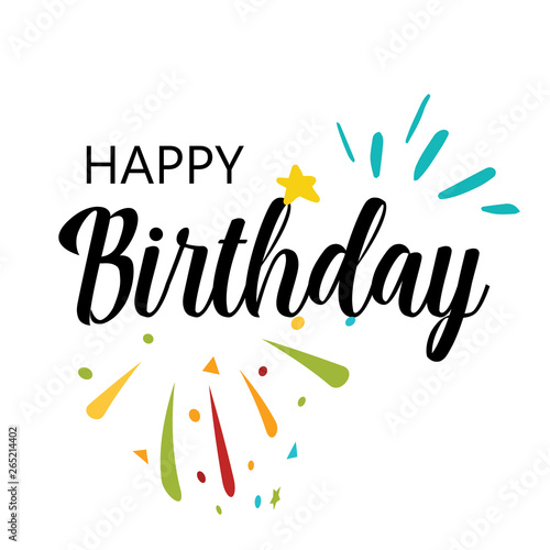 Photo sur Toile Empreintes Graphiques Card with calligraphy lettering happy birthday. Vector illustration in scandinavian style - Vector