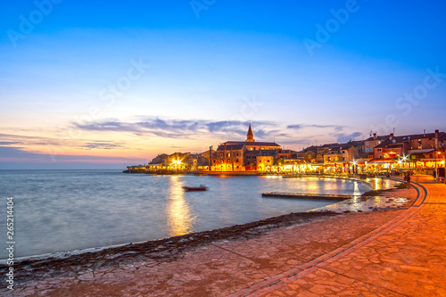 Fotografie, Obraz  Umag town, on Istria peninsula, Adriatic Sea, in Croatia at dusk