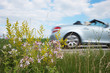 silberner Cabrio Sportwagen fährt schnell vorbei auf der Landstraße. Seitenansicht bei hoher Geschwindigkeit.