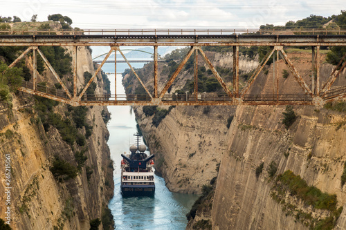 Vászonkép The Corinth Canal, Greece, a channel done in 1893 that cuts the narrow Isthmus o