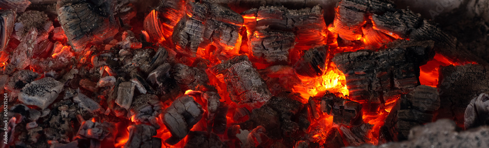 Fototapety, obrazy: Burning coals from a fire abstract background.