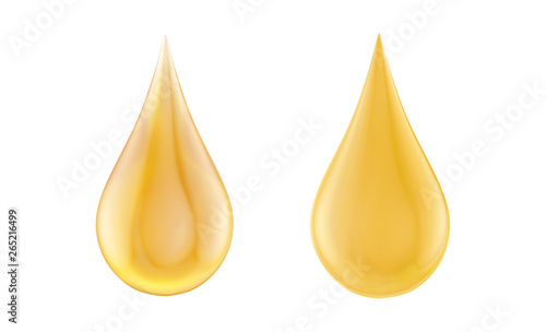 Fototapeta Liquid vegetable sunflower oil or seeds oil drops isolated. Skincare, auto, motor, beauty, cosmetic, healthy food and balanced diet advertising design element. 3D illustration obraz