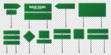 Road Green Traffic Signs Set. Blank Board With Place For Text. Mockup. Isolated Information Sign. Direction. Vector Illustration.